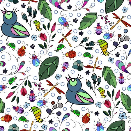 Awesome vector seamless pattern with beetles and bird