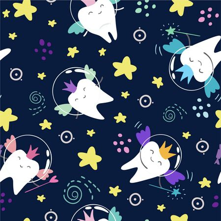 Cute seamless pattern with the image of magic teeth with wings, bubbles, magic wands and stars on a dark blue background