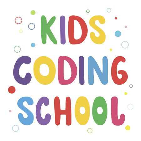 Vector hand drawn lettering phrase Kids coding school  イラスト・ベクター素材
