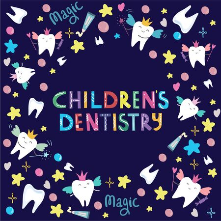 Hand drawn lettering Childrens Dentistry In the middle of the pattern of magical teeth, bubbles, toothbrushes and stars  on the dark-blue background