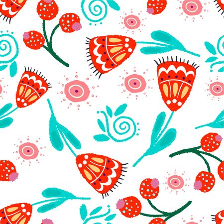 Botanical vector seamless pattern with the image of bright flowers and herbs in the style of folk on a white background