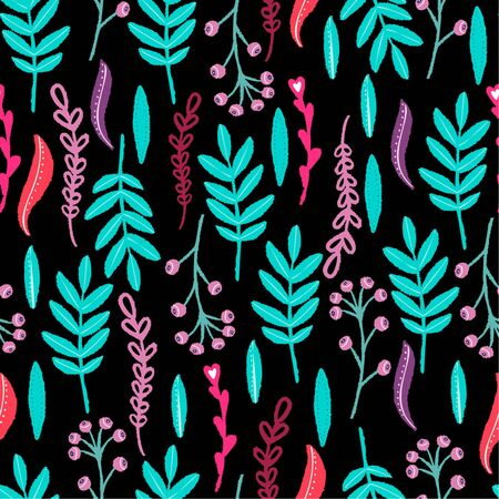 Vector seamless floral pattern in folk style on a black background. For t shirt, poster, print, card, banner or textile