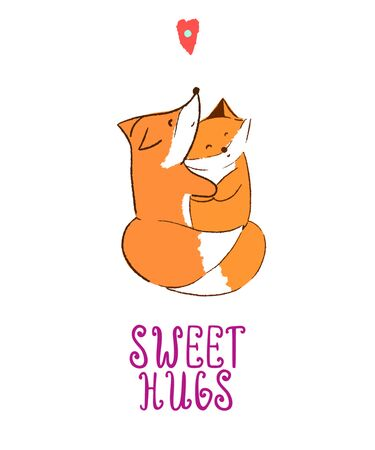 Vector illustration with two cute foxes hugging and handwriting Sweet hugs. For t shirt, poster, print, card, banner isolated design element. Scandinavian style  イラスト・ベクター素材