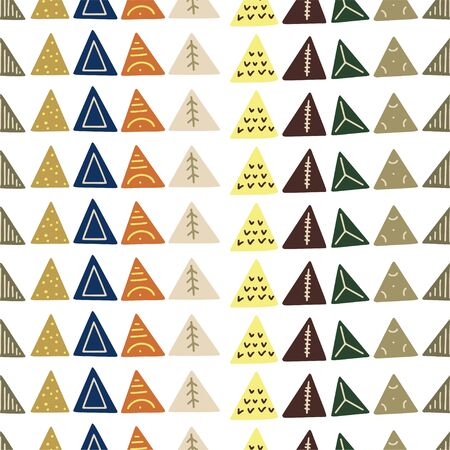 Abstract vector seamless pattern with geometric shapes on the white background. Abstract triangles. Stylish template for design ideas.  イラスト・ベクター素材