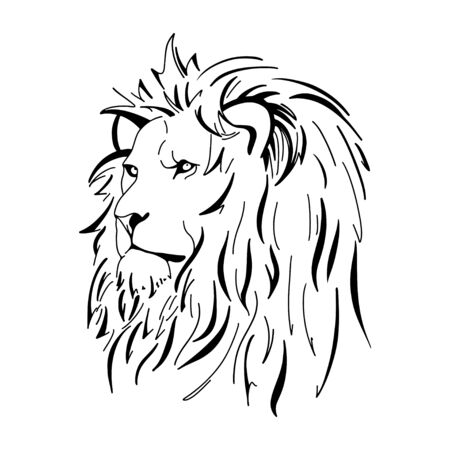 Contour silhouette of an lion. Animals of Africa. The head of an lion.  イラスト・ベクター素材