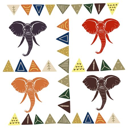 Vector pattern with elephants and geometric shapes. The silhouettes of the elephants. Animals of Africa. The head of an elephant.  イラスト・ベクター素材