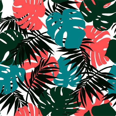 Abstract seamless pattern of blue, green and coral leaves of Monstera and palm leaves on a white background  イラスト・ベクター素材