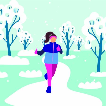 Vector image of a  happy girl running cross-country in running equipment