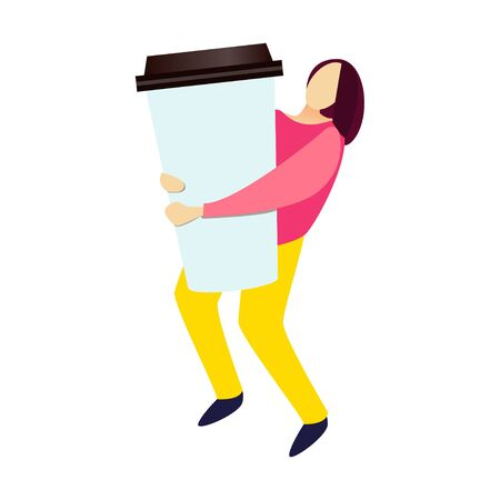 The girl carries a huge glass of coffee