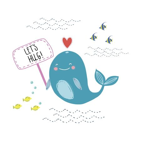Lettering quote I am big and kind with a cute whale on the waves.  Around the stars and drops. Cute print for poster, bunner, card
