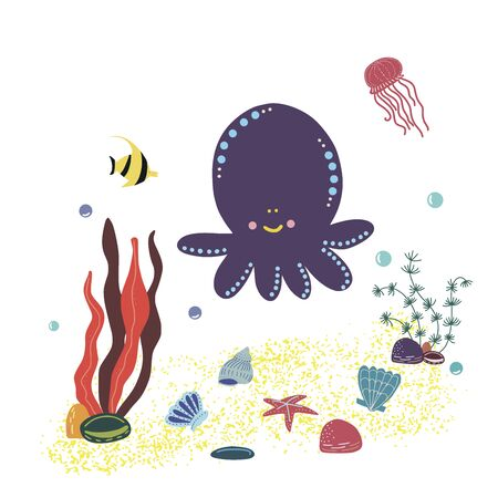 Vector image of an octopus in the center with algae, shells, jellyfish, fish and air bubbles. Used for logo, window dressing, flyer or discount card and for an animal store  イラスト・ベクター素材