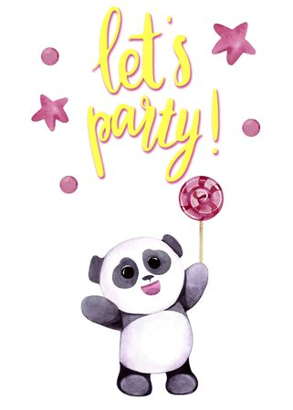 Watercolor illustration with cute panda with stars. Let's party lettering. Print for greeting cards, invitations, children's textiles and posters. 写真素材 - 129000681