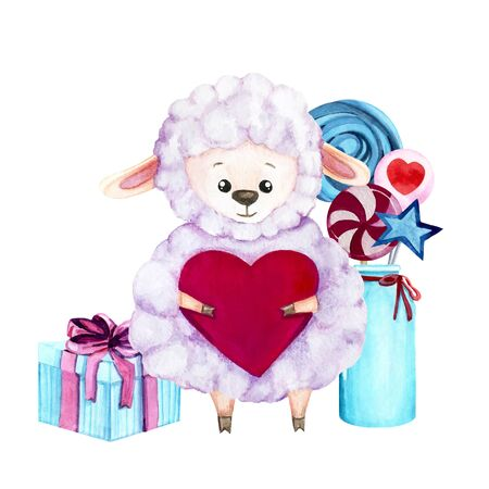 Watercolor illustration with cute sheep with heart, sweets in a vase and gift. Print for greeting cards, invitations, childrens textiles and posters.