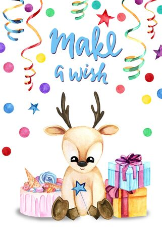 Watercolor illustration with a cute fawn with cake and gifts on the white background. Make a wish lettering. Print for greeting cards, invitations, childrens textiles and posters. Stockfoto