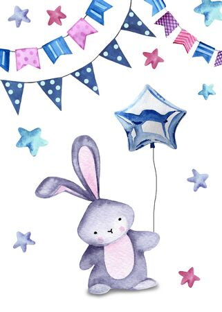 Watercolor illustration with cute bunny, balloon, stars and garlands on the white background.  Print for greeting cards, invitations, childrens textiles and posters. 写真素材