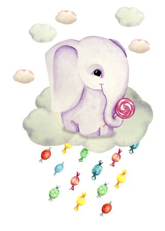 Watercolor illustration of a cute elephant on a cloud. Candy rain. Print for greeting cards, invitations, childrens textiles and posters.