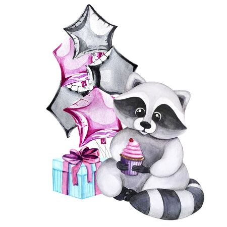 Watercolor greeting card with a raccoon, balloons in the form of stars and a gift. Print for greeting cards, invitations, children's textiles and posters. 写真素材 - 129000695