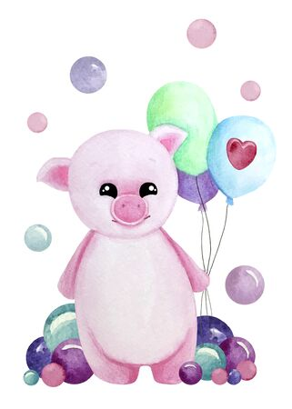 Watercolor illustration with pink pig with balloons and bubbles. Print for greeting cards, invitations, childrens textiles and posters. 写真素材