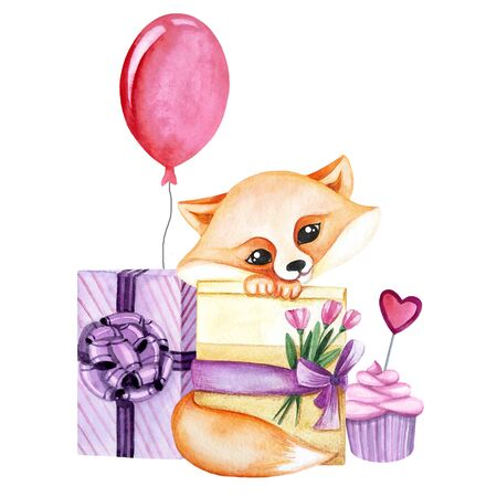 Watercolor illustration with cute fox with flowers, sweets and gift. Print for greeting cards, invitations, childrens textiles and posters. 写真素材