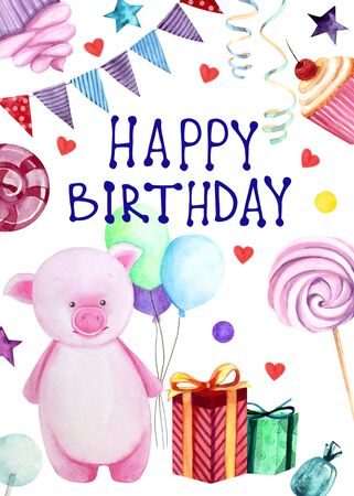 Watercolor illustration with a cute pink pig with balloons, sweets and gifts on the white background. Happy birthday lettering. Print for greeting cards, invitations, childrens textiles and posters. 写真素材