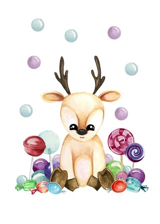 Watercolor illustration with cute fawn with gsweets. Print for greeting cards, invitations, childrens textiles and posters. 写真素材