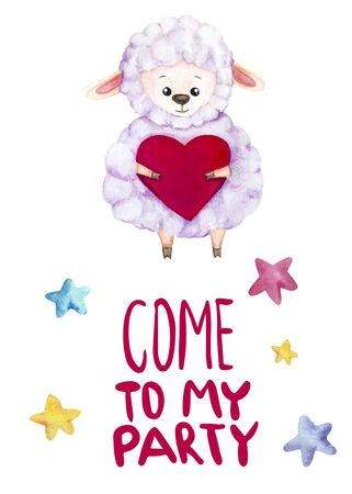 Watercolor illustration with a  cute sheep with hearts in her hands. Let's to my party lettering. Print for greeting cards, invitations, banners, baby textile and posters 写真素材 - 129000727