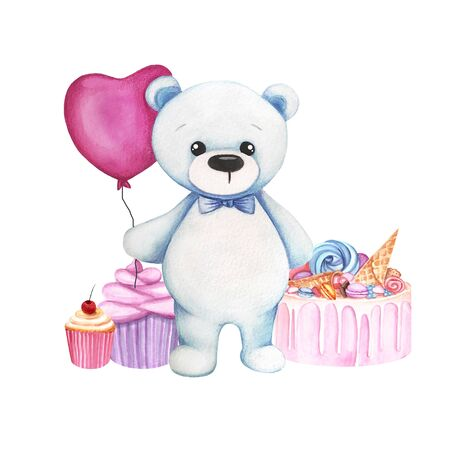 Watercolor illustration with blue cute bear, sweets, cake and pink balloon. Print for greeting cards, invitations, childrens textiles and posters. 写真素材