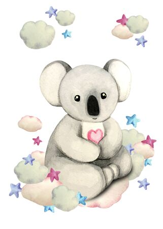 Watercolor illustration of a cute coala on a cloud surrounded by stars. Print for greeting cards, invitations, childrens textiles and posters.