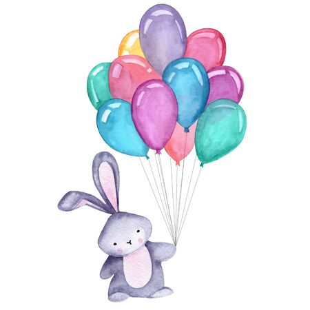 Watercolor illustration with cute bunny and balloons on the white background.  Print for greeting cards, invitations, childrens textiles and posters. 写真素材