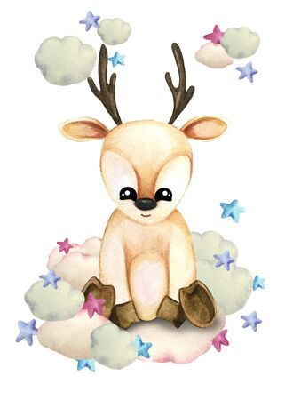 Watercolor illustration of a cute fawn on a cloud surrounded by stars. Print for greeting cards, invitations, childrens textiles and posters.
