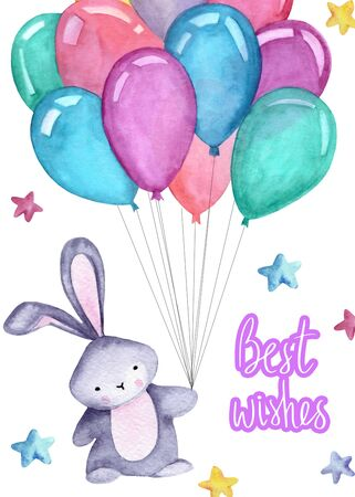 Watercolor illustration with cute bunny, balloons, stars on the white background.  Best wishes lettering. Print for greeting cards, invitations, children's textiles and posters. 写真素材 - 129000728