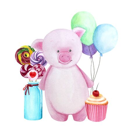 Watercolor greeting card with pink pig, sweets in a vase, cupcake and three balloons. Print for greeting cards, invitations, children's textiles and posters. 写真素材 - 129000730