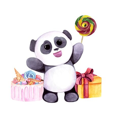 Watercolor illustration with cute panda with sweets and gifts. Print for greeting cards, invitations, childrens textiles and posters. 写真素材