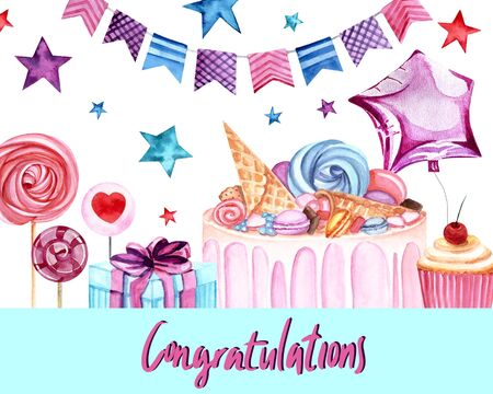 Watercolor illustration with Congratulation lettering. Gifts, lollypops, cake, balloon,stars and garland on the background. Print for greeting cards, invitations, banners and posters.