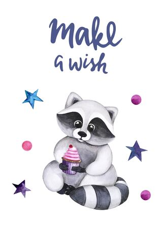Watercolor illustration with a  cute raccoon with cupcake in his hands. Make a wish lettering. Print for greeting cards, invitations, banners, baby textile and posters