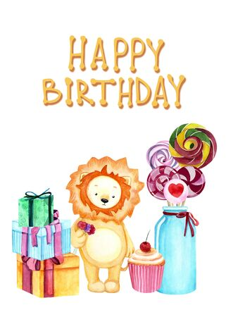 Watercolor illustration with a cute lion, sweets and gifts on the white background. Happy birthday lettering. Print for greeting cards, invitations, children's textiles and posters. 写真素材 - 129000733