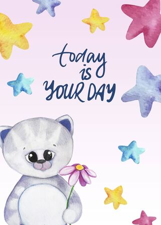 Watercolor illustration with a kitty and stars. Today is your day lettering. Print for greeting cards, invitations, childrens textiles and posters. 写真素材