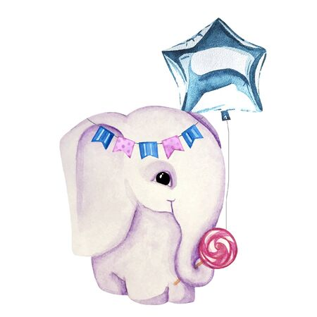 Watercolor greeting card with elephant, garland, lollypop and blue balloon. Print for greeting cards, invitations, childrens textiles and posters.