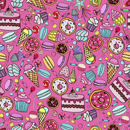 Cute seamless pattern with candy, ice cream, candy, donuts, cupcake, macaroons and other sweets. Print for textile, banners, label and flyer  イラスト・ベクター素材
