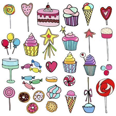 Vector set of  candy, ice cream, candy, donuts, cupcake, macaroons and other sweets. For stickers, banners and covers.  イラスト・ベクター素材