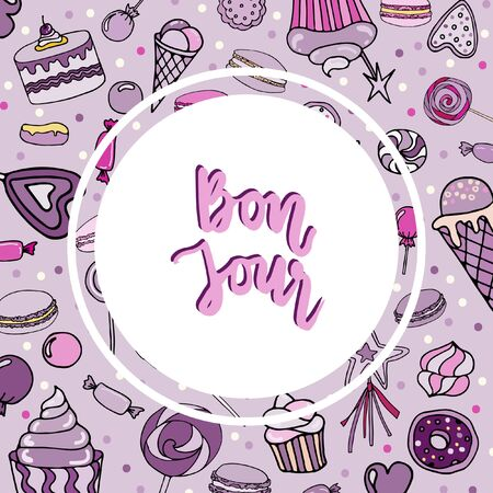 Vector hand-drawn background with candy, ice cream, muffins, donuts, cupcake, macaroons and other sweets. Doodle style. Bon jour lettering.  Print for textile, banners, label and flyer  イラスト・ベクター素材