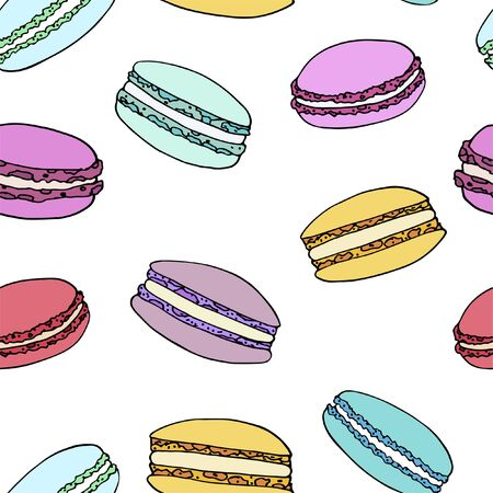 Vector set of macaroons in doodle style. Sweets for stickers, banners, label and prints  イラスト・ベクター素材