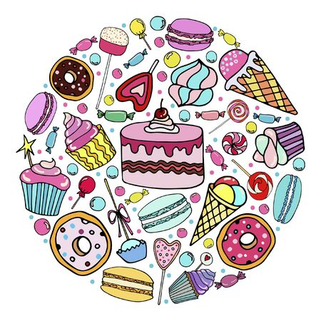 Vector set of  candy, ice cream, candy, donuts, cupcake, macaroons and other sweets in a circle, which can be used in postcards and flyers  . Hand-drawn illustration in doodle style