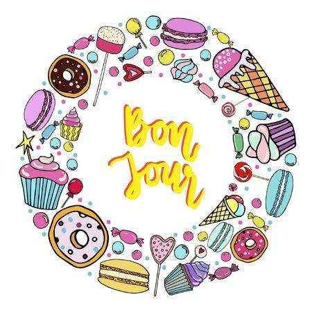 Vector set of candy, ice cream, candy, donuts, cupcake, macaroons and other sweets in a circle.