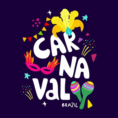 Hand drawn vector illustration on a Brazilian carnival theme. Carnaval  lettering. Bright elements in doodle style. Headdress with yellow feathers, maracas and masks, garlands on a dark background. Te