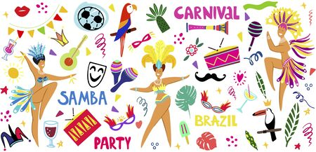 Hand drawn vector illustration on a Brazilian carnival theme. Doodle style. Bright elements of the festival and Brazilian culture. Drums, parrots, masks, garlands on a white background. Template for p