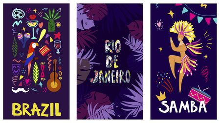 Brazil and Samba lettering. Set of poster templates with hand-drawn vector illustrations on a dark blue background. Bright elements of the festival and Brazilian culture.