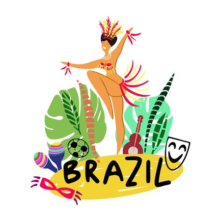 Hand drawn vector illustration on a Brazilian carnival theme. Brazil lettering. Bright elements of the festival and Brazilian culture. Woman dance in colorful carnival costume, tropic leafes and mask.