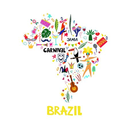 Vector map of Brazil hand-drawn illustration. Carnival attributes, tropical leaves, musical instruments and abstract doodle elements. Template for travel cards, routes, textiles, flyers, posters and b