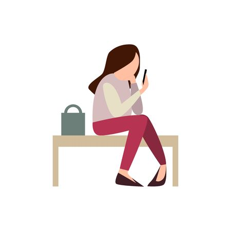 A young girl is sitting on a bench waiting. Looks at his smartphone. illustration on the queue, lateness, time planning Illustration